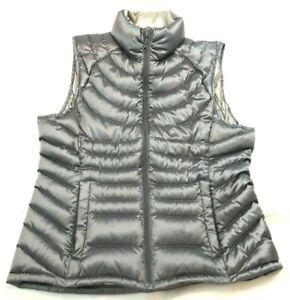 Bernardo M Packable Goose Down Puffer Vest Satin Gray Taupe - Flaw