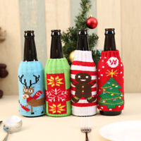 Wine Bottle Cover Cute Pattern Knitted Bag Xmas Party Dinner Table Decoration