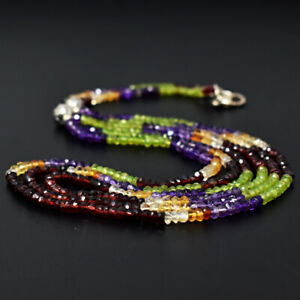 207 Cts Earth Mined Amethyst & Peridot Faceted Beads Necklace Jewelry JK 04E290