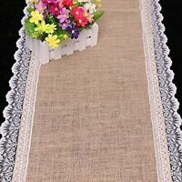 KRAFTZ® Burlap Hessian Natural Jute Table Runner with Lace for Party Decoration