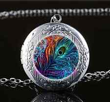 Peacock Feather Photo Glass Tibet Silver Chain Locket Pendant Necklace