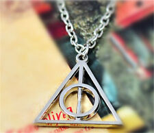 Hot movie harry potter -deathly hallows metal silver necklace pendant Free Ship