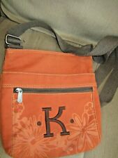 "Thirty One Organizing Shoulder Bag Orange Flower embroidery initial ""K"" Purse 31"
