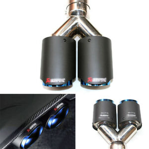 "2.5""/63mm Universal Car Exhaust Dual Tip Muffler Pipe Carbon Fiber + Stainless"