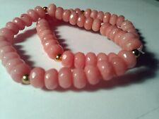 Vintage pink polished morganite nuggets restrung stretch bracelets 6.7'