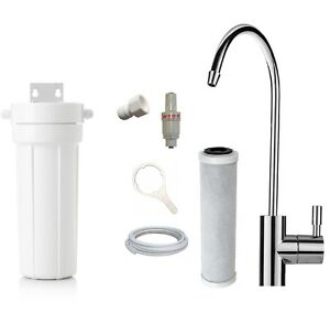 Single Under Sink Water Filter System + Faucet Tap + Carbon Filter + Valve