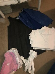 Girls Royal Blue School Uniform Bundle. Cardigans, Polo Shirts, Dress. Age 4-5