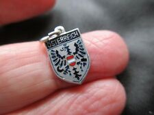 ANTIQUE VINTAGE SILVER ENAMEL AUSTRIA OSTERREICH PLACE NAME SHIELD FOB CHARM OLD
