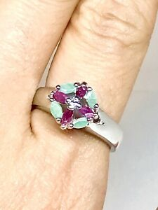GENUINE RUBY/ EMERALD SILVER RHODIUM PLATED RING VINTAGE STYLE SIZE 8