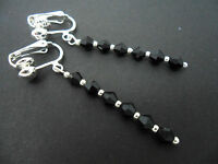 A PAIR OF BLACK CRYSTAL GLASS BEAD  SILVER  PLATED CLIP ON DROP EARRINGS. NEW.