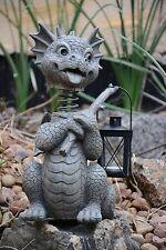 Gartendrachen Teelicht Laterne Wackelkopf Drachenfiguren Deko Fantasy Gargoyle
