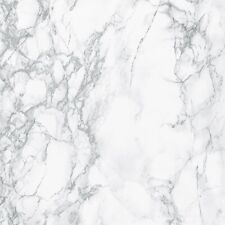 2m X 67.5cm LIGHT GREY WHITE MARBLE STICKY BACK PLASTIC SELF ADHESIVE VINYL FILM
