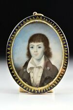 18th Century Miniature Portrait Mourning Painting of Boy Gold & Silver Frame
