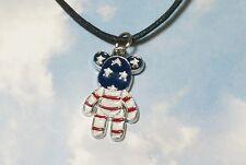"""Bandera estadounidense Collar/Colgante de oso de peluche y 18"""" Cordón De Algodón Encerado/Regalo/US"""