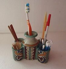TRADITIONAL HAND PAINTED CERAMIC TOOTH BRUSH HOLDER  * PEN TIDY  * FES POTTERY