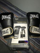 Everlast Power Lock Training Gloves 14 Oz For Sparring Black And Gold