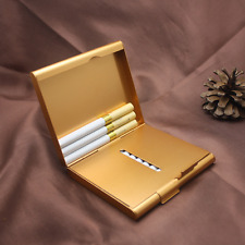 Ultrathin Metal Unique Stylish Cigarette Case Hold For 20 Cigarettes Golden New