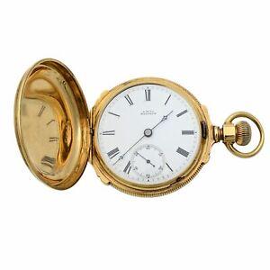 A.W. Co Waltham 14k Yellow Gold Circa 1890s Manual Wind Pocket Watch