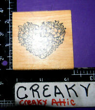 FLOWER HEART BOUQUET RUBBER STAMP DELAFIELD RETIRED F537