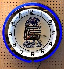 "18"" Carroll Shelby Double Neon Chrome Clock Cobra Mustang"