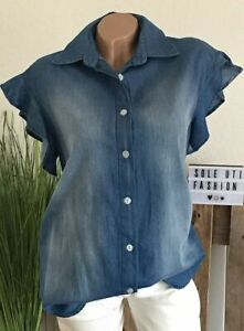 ITALY SCHÖNSTE JEANSBLUSE LÄSSIG BLAU VOLANT 36 38 40 Jeans Tunika Bluse Trend