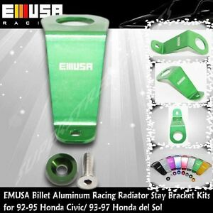 EMUSA Billet Aluminum RacingRadiator Stay BracketKit fit 92-95 Honda Civic GREEN