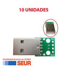 X10 Placa PCB Adaptador Convertidor Conector Macho USB a Dip de 4 Pines 4P 2.54