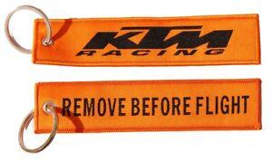 KTM Racing Remove Before Flight Key Ring Key Tag Wash Bung Exhaust Bung Tag