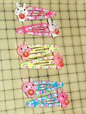1 Pair Handmade Glittery Bunny Holding Strawberry on Strawberry Print Snap Clips