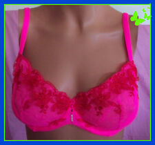 $50 34D Neon Pink Red Lace Mesh Victorias Secret PushUp wo Pading unlined Bra