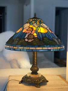 """Vintage Tiffany Style Table Lamp  24""""H with MARBLE  BASE"""