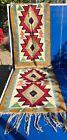 Antique Vintage Handwoven Aztec Carpet Rug Runner Multicolor Tapestry w/ Fringe