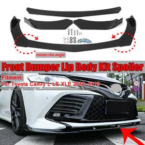 Fits 2018 2019 Toyota Camry L LE XLE Front Bumper Lip Body Kit Splitter Winglet