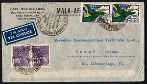 Brasil 1936 Condor Zeppelin Lufthansa Airmail Cover Rio? to Basel Switzerland