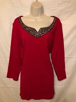 Women's RAFAELLA Red Beaded Embroidered 3/4 Sleeve V-Neck Top (Size XL)