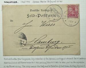 GERMAN MARITIME MAIL IN MALAYA 1 SEP 1900 POSTCARD FROM SINGAPORE TO HAMBURG
