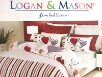 Logan & Mason Hearts & Stripes Purple SINGLE Size Quilt Doona Cover Set