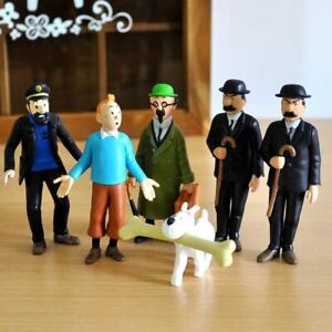 Lot 6 The Adventures of Tintin Snowy Action Figure Play set Toy Doll Cake Topper