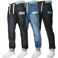 ENZO Designer Mens Cuffed Jeans Regular Fit Jogger Trousers Denim Pants W28-48''