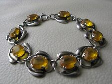 Vintage STERLING Silver Faux Citrine Yellow Amber Glass Jewel Old Pawn Bracelet