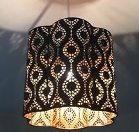NEW Black Metal Pendant Light Lamp Ceiling Shade Cut Out Moroccan Gold / copper