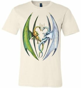 Entwined Dragons - Unisex Fitted Fantasy Art  Graphic T-shirt sizes (S-4XL)