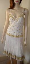 AQUA/CENTRAL PARK WEST Ivory/Gold Embroidered Crinkled Silk Skirt & Tank Set (S)
