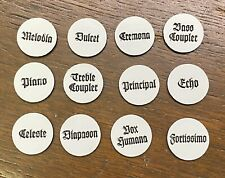 """New Pump/Reed Organ Stop Faces, 7/8"""", Set of 12 , Chicago Cottage"""