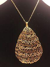 Teardrop Pendant Ayatul Kursi Stunning Arabic Islamic Jewelry 24K Gold Plated
