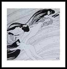 Gustav Klimt Fischblut Poster Bild Kunstdruck mit Alu Rahmen in schwarz 48x46cm