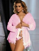 Plus Size Women's Lingerie Lace Short Gown Kimono Babydoll 12 14 16 18 20 22