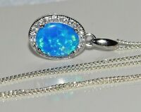 Sterling Silver (925) Blue Opal Cabochon Oval Cluster Pendant & 18 inch Chain ~