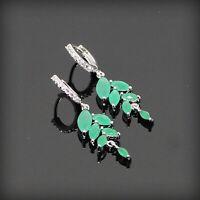 Green Emerald Drop Earrings 925 Sterling Silver Fashion Dangle Earring For Women