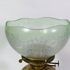 More details for green etched wavy rim frosted oil lamp shade roses geometric pattern fits duplex